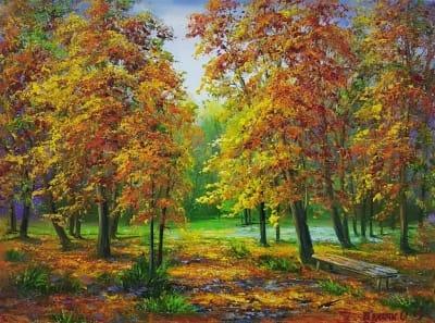 Картина маслом осенний пейзаж «Золотые краски осени» - купить живопись для современных интерьеров Украина