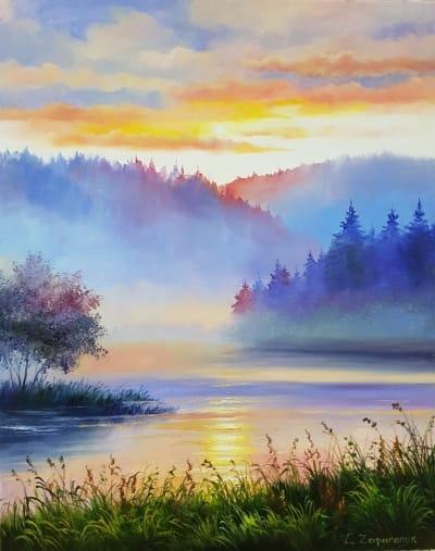 Картина маслом пейзаж «Тишина» купить картину для современного интерьера