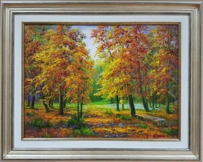 Картина маслом осень пейзаж «Золотые краски осени» - купить живопись для современных интерьеров Украина