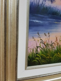 Картина маслом горный пейзаж «Тишина» купить картину для современного интерьера