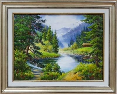 Картина маслом летний пейзаж «Величие горной тишины» - купить живопись для современных интерьеров Киев