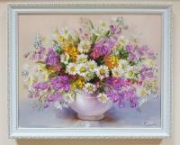 Картина маслом полевые цветы «Полевые цветы. Поцелуй лета» купить картину для современного интерьера
