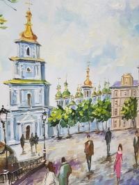 Картина киевский пейзаж «Виды Киева. Михайловская площадь» купить живопись Киев