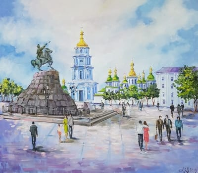 Киевский пейзаж картины купить «Виды Киева. Софиевская площадь» виды Киева живопись