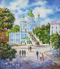 Киевский пейзаж картины купить «Виды Киева. Андреевская церковь» виды Киева живопись