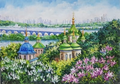 Киевский пейзаж картина маслом «Виды Киева. Выдубицкий монастырь» купить живопись Украина