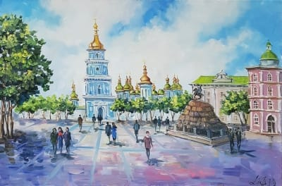Картина киевский пейзаж «Виды Киева. София» купить живопись Киев
