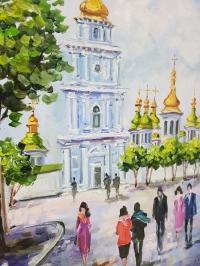 Картина киевский пейзаж «Виды Киева - Софиевская площадь» купить картину маслом Киев