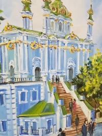 Картина киевский пейзаж «Виды Киева. Андреевская церковь» купить картину маслом в Киеве