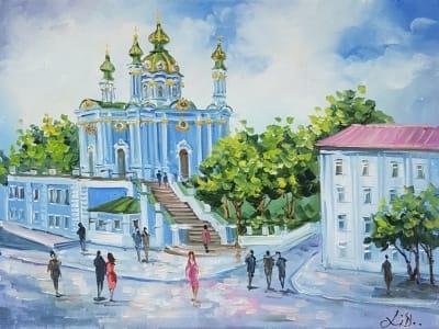 Картина киевский пейзаж «Виды Киева - Андреевская церковь» купить картину маслом Киев