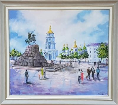Картина маслом киевский пейзаж «Виды Киева. Софиевская площадь» купить живопись Киев