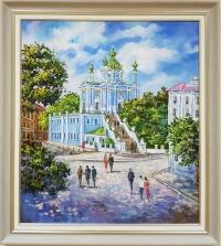 Картина маслом пейзаж «Виды Киева. Андреевская церковь» купить живопись Украина