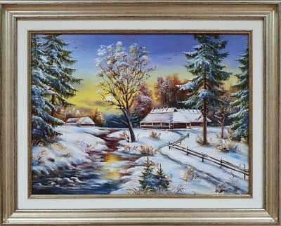 Картина маслом зима пейзаж «Зимний пейзаж» купить картину Киев