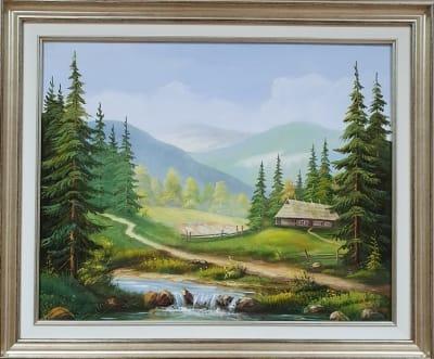 Горный пейзаж картина маслом «Тишина горной прохлады» купить картину Украина
