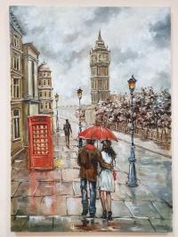 Картина маслом Лондон «Любовь в осеннем Лондоне» купить картину Киев