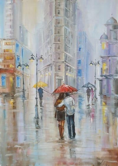 Картина маслом Нью-Йорк «Влюбленные и красочный Нью-Йорк» купить картину Киев