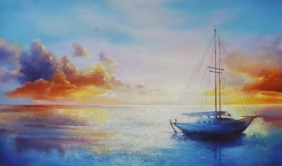 Картина маслом морской пейзаж «Теплые краски заката» купить живопись Киев