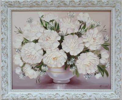 Картина маслом цветы «Белые пионы» купить картину для современного интерьера