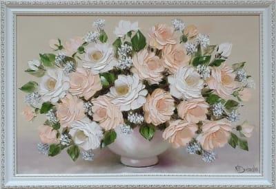 Картина маслом цветы «Нежные розы» купить картину для современного интерьера