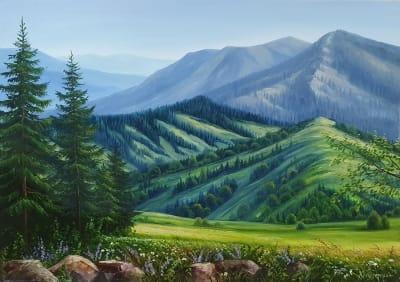 Картина маслом горный пейзаж Карпат «Величие горной тишины» купить картину Киев