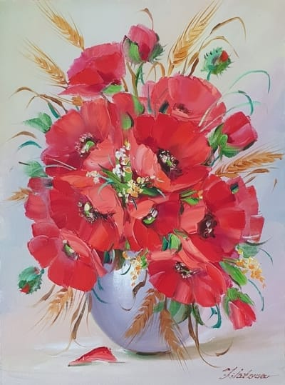 Картина цветы «Маки» купить живопись для современных интерьеров Киев