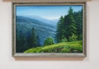 Картина маслом горный пейзаж «Тишина Карпат» купить живопись Украина