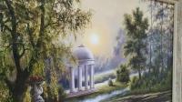 Картина маслом летний пейзаж «Лебеди на пруду» купить живопись Украина