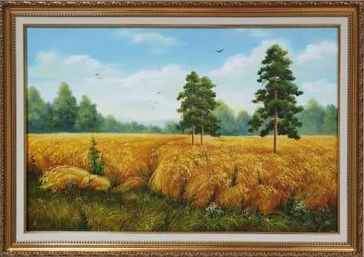 Картина маслом пейзаж «Золотое пшеничное поле» купить живопись Украина