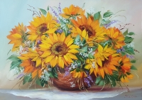 Картина цветы «Подсолнухи. Поцелуй солнца» купить картину маслом Украина