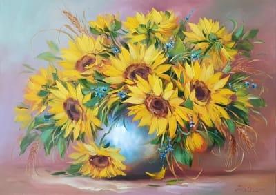 Картина цветы «Подсолнухи» купить живопись Украина