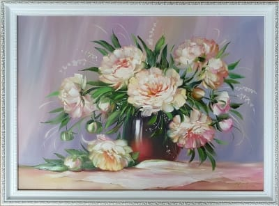 Картина цветы «Белые пионы» купить живопись Киев