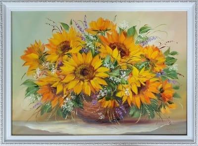 Картина цветы «Подсолнухи. Поцелуй солнца» купить картину маслом Киев