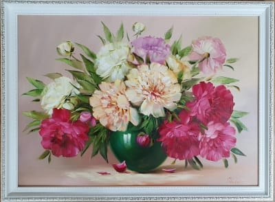 Картина цветы «Весенние пионы» купить картину маслом Украина