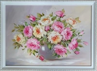 Картина маслом цветы розы «Нежный аромат» купить картину Украина