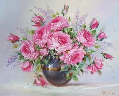 Картина маслом цветы розы «Нежность в каждом лепестке» купить картину цветы