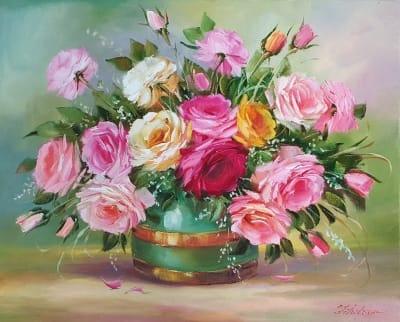 Картина цветы «Яркий букет» купить картину маслом Киев