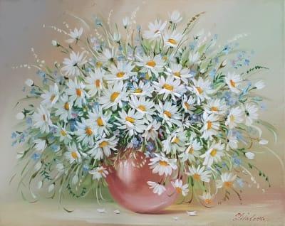 Картина маслом цветы ромашки «Нежность» купить живопись Украина