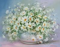 Картина маслом цветы ромашки «Нежность лепестков ромашек» купить живопись Киев