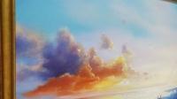 Картина маслом морской пейзаж «Теплые краски заката» купить живопись Украина