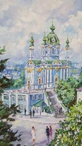 Киевский пейзаж картины маслом «Виды Киева. Андреевская церковь» виды Киева живопись купить