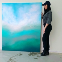 Картина маслом для дизайна современных интерьеров «DEEP INSIDE» 2 абстрактное море живопись Украина