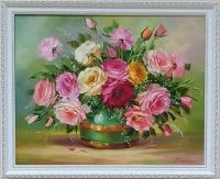 Картина маслом цветы «Розовая симфония» купить живопись Украина