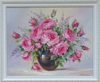 Картина маслом цветы «Весенних роз аромат» купить живопись Украина
