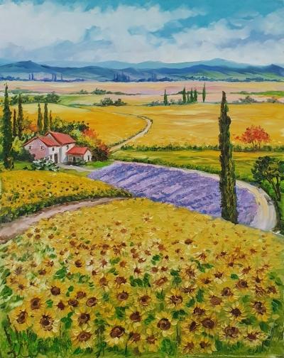 Картина маслом французский пейзаж Прованс «Красочный Прованс» купить живопись для современных интерьеров