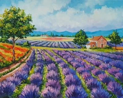 Картина маслом пейзаж Прованс «Прованс» купить живопись для современных интерьеров