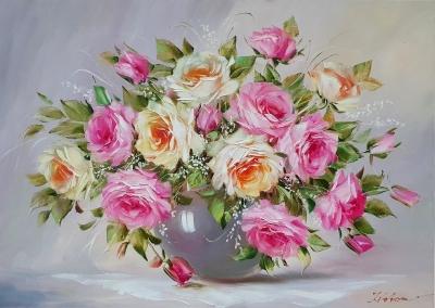 Картина маслом цветы розы «Нежный аромат» купить картину Киев