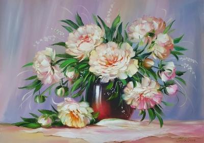 Картина цветы «Белые пионы» купить живопись Украина
