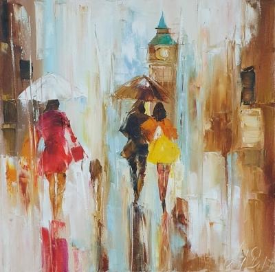 Картина «Лондон. Теплые краски дождя...» купить современную живопись Украина
