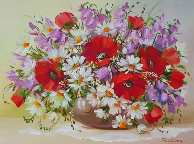 Картина маслом цветы «Летний букет» купить картину Киев