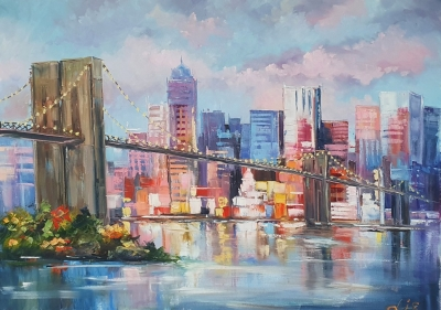 Картина маслом городской пейзаж Нью-Йорка «Вид на Бруклинский мост» живопись для современных интерьеров